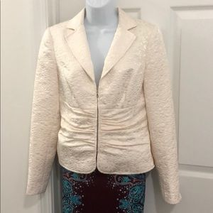 Womens VTG Floral Textured Ruched Dress Jacket
